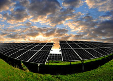 Solar energy panels. In the setting sun Royalty Free Stock Photo