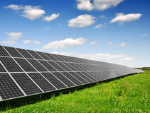 Solar energy panels. Against blue sky with clouds Royalty Free Stock Image