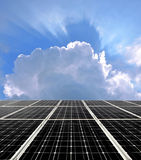 Solar energy panels. Against blue sky with clouds Stock Image