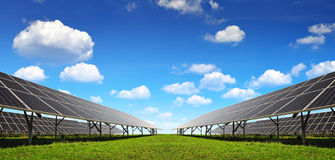 Solar energy panels. Against blue sky with clouds Stock Photography