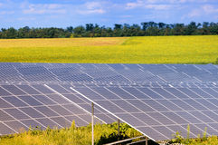 Solar energy panels against sunny sky Royalty Free Stock Images