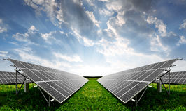 Solar energy panels. Against sunset sky Royalty Free Stock Image