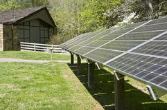 Solar Energy Panels Behind Building Stock Photography