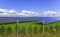 Solar energy panels with blue sky Royalty Free Stock Images