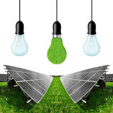 Solar energy panels with bulbs Stock Photo