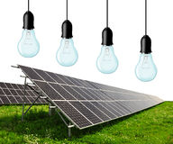 Solar energy panels with bulbs Stock Images