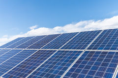 Solar energy panels closeup. Closeup of the solar energy panels with sunny sky Stock Images
