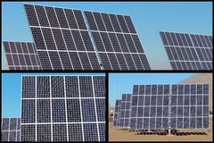 Solar Energy Panels Collage Royalty Free Stock Photos