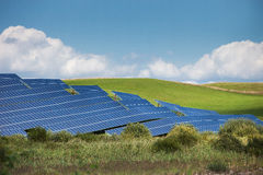 Solar energy. Panels in countryside Royalty Free Stock Photography