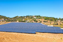 Solar energy panels in the countryside from Portugal. Europe Royalty Free Stock Image