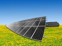 Solar energy panels. On dandelion field Royalty Free Stock Images