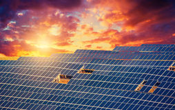 Solar energy panels. With dramatic cloudy sky at sunset Royalty Free Stock Photography
