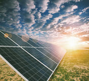 Solar energy panels. In the field Royalty Free Stock Image