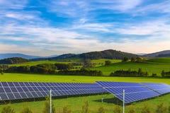 Solar energy panels. Landscape, spring season Royalty Free Stock Photos