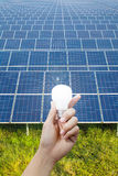 Solar energy panels and Light bulb in hand, energy Stock Photography