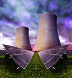 Solar energy panels with nuclear power plant Stock Image