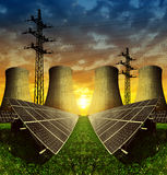 Solar energy panels, nuclear power plant and electricity pylon. At sunset Stock Images