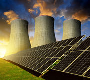 Solar energy panels and nuclear power plant Stock Images