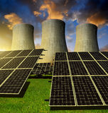 Solar energy panels and nuclear power plant Royalty Free Stock Photo