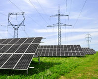 Solar energy panels. With power line Royalty Free Stock Photography