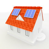 Solar energy panels on a roof of house. Royalty Free Stock Images