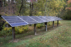 Solar panels in woods Royalty Free Stock Image