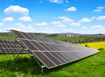Solar energy panels. In spring landscape Royalty Free Stock Images