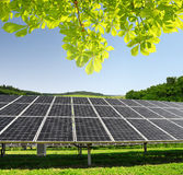 Solar energy panels. In spring landscape Stock Image