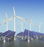 Solar energy panels and wind turbine Royalty Free Stock Image