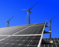 Solar energy panels. And wind turbine Royalty Free Stock Photography