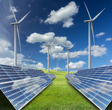 Solar energy panels and wind turbine Stock Photography