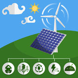 Solar energy panels and wind turbine Stock Images