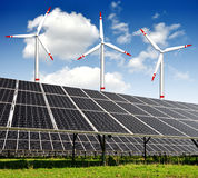 Energy concepts. Solar energy panels and wind turbines Royalty Free Stock Photography