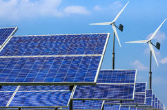 Solar energy panels and wind turbines alternative energy Stock Photo