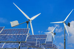 Solar energy panels and wind turbines alternative energy Royalty Free Stock Photography