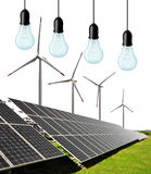 Solar energy panels with wind turbines and bulbs. On white background Royalty Free Stock Photos