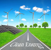 Solar energy panels and wind turbines. Royalty Free Stock Photography