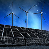 Solar energy panels and wind turbines Stock Photography