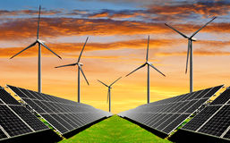 Solar energy panels and wind turbines Royalty Free Stock Photos