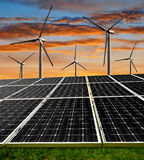 Solar energy panels and wind turbines Royalty Free Stock Image