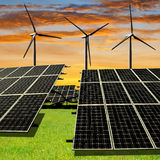 Solar energy panels and wind turbines Stock Image