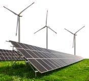 Solar energy panels with wind turbines. On white background Royalty Free Stock Image