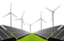 Solar energy panels with wind turbines Stock Photos