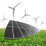 Solar energy panels with wind turbines Royalty Free Stock Image