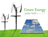 Solar energy panels and wind turbines Stock Photos