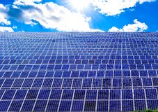 Solar energy power panels field royalty free stock photo