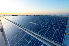 Solar energy. Power plant using renewable solar energy with sun Royalty Free Stock Photos