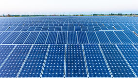 Solar energy. Power plant using renewable solar energy with sun Royalty Free Stock Image