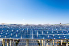 Solar energy in prairie under the sunny sky Stock Photos