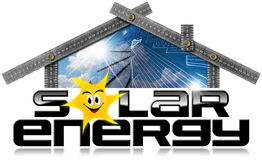 Solar Energy - Ruler in the Shape of House. Metal ruler in the shape of house photo with text Solar Energy 3D illustration and a solar panel inside. Isolated on Stock Photo